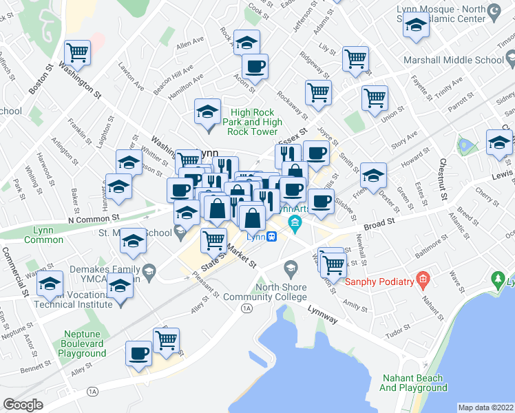 map of restaurants, bars, coffee shops, grocery stores, and more near 35 Central Avenue in Lynn