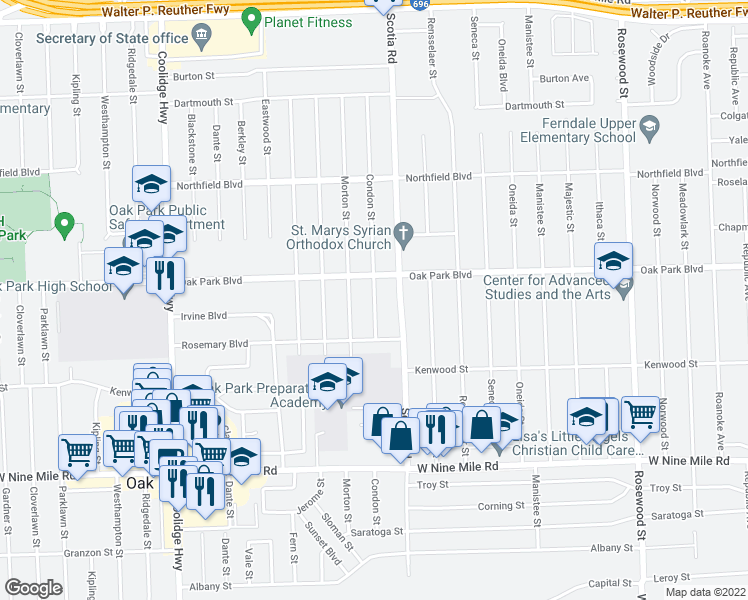 map of restaurants, bars, coffee shops, grocery stores, and more near Condon Street in Oak Park