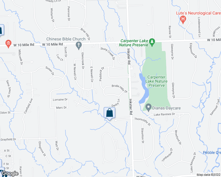 map of restaurants, bars, coffee shops, grocery stores, and more near 27529 Bridle Hills Dr in Farmington