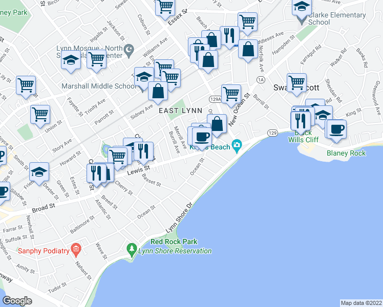 map of restaurants, bars, coffee shops, grocery stores, and more near 21 Lewis Street in Lynn
