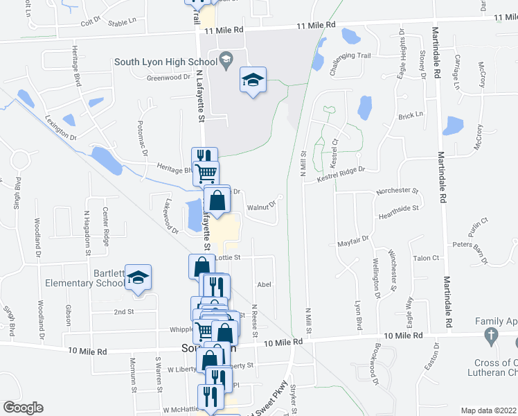 map of restaurants, bars, coffee shops, grocery stores, and more near Walnut Drive in South Lyon
