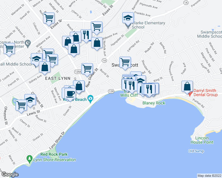 map of restaurants, bars, coffee shops, grocery stores, and more near 66 Humphrey Street in Swampscott