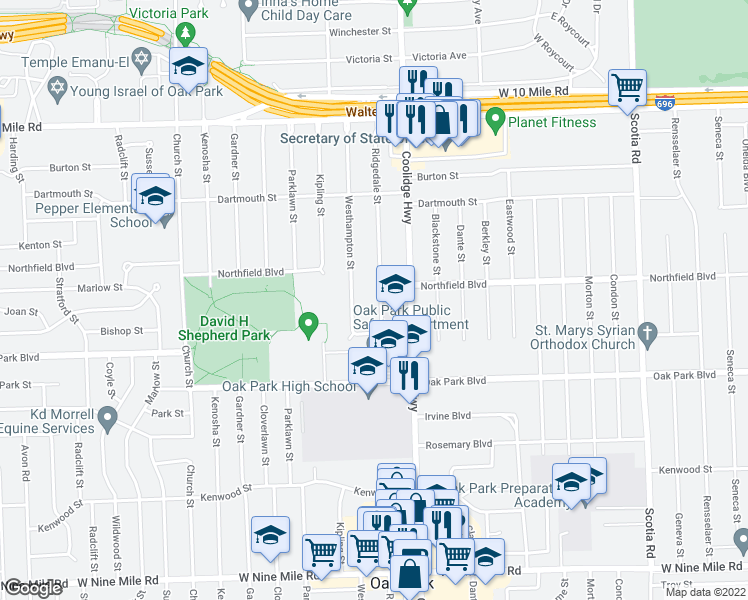 map of restaurants, bars, coffee shops, grocery stores, and more near 24141 Ridgedale Street in Oak Park