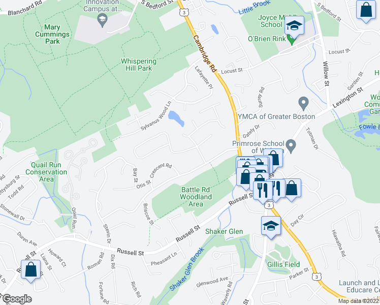 map of restaurants, bars, coffee shops, grocery stores, and more near 8 Independence Drive in Woburn
