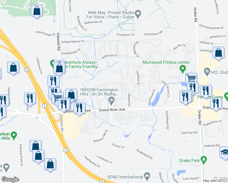 map of restaurants, bars, coffee shops, grocery stores, and more near 36550 Grand River Ave in Farmington Hills