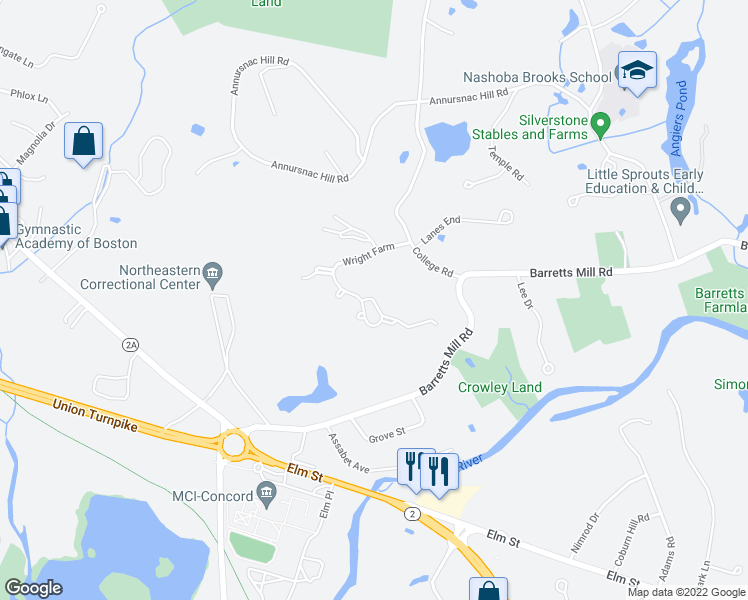 map of restaurants, bars, coffee shops, grocery stores, and more near Wright Farm in Concord