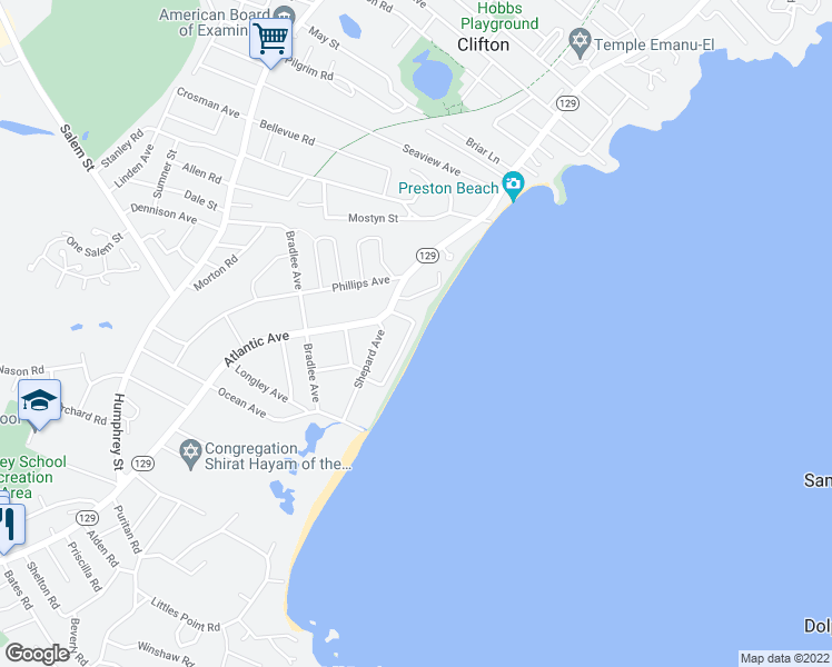 map of restaurants, bars, coffee shops, grocery stores, and more near 34 Blodgett Avenue in Swampscott