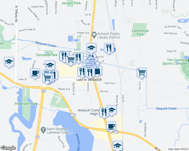 map of restaurants, bars, coffee shops, grocery stores, and more near 921 Main Street in Antioch