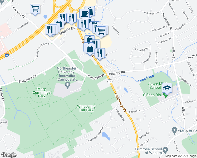map of restaurants, bars, coffee shops, grocery stores, and more near 211 Bedford Road in Woburn