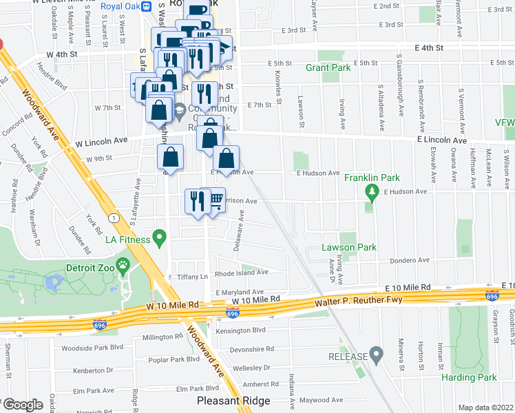 map of restaurants, bars, coffee shops, grocery stores, and more near 322 East Harrison Avenue in Royal Oak