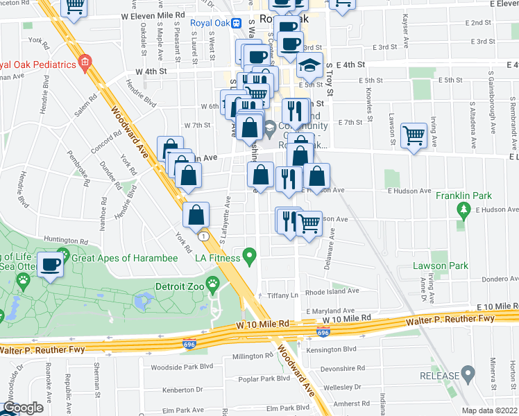 map of restaurants, bars, coffee shops, grocery stores, and more near 1021 South Washington Avenue in Royal Oak