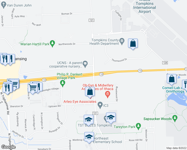 map of restaurants, bars, coffee shops, grocery stores, and more near Rte 13 & Warren Rd in Lansing