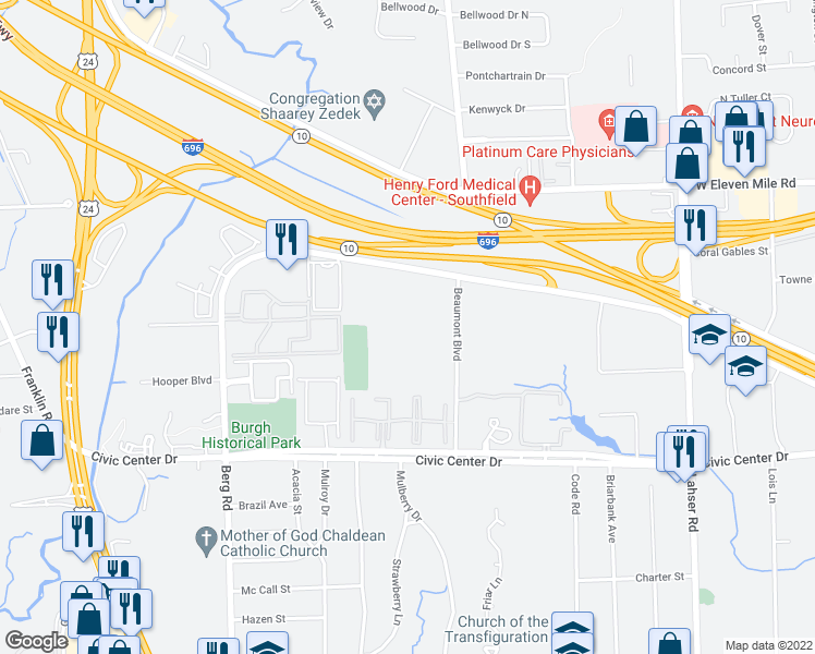 map of restaurants, bars, coffee shops, grocery stores, and more near 26913 Northwestern Highway in Southfield