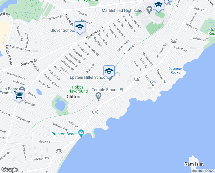 map of restaurants, bars, coffee shops, grocery stores, and more near 2 Cushing Road in Marblehead