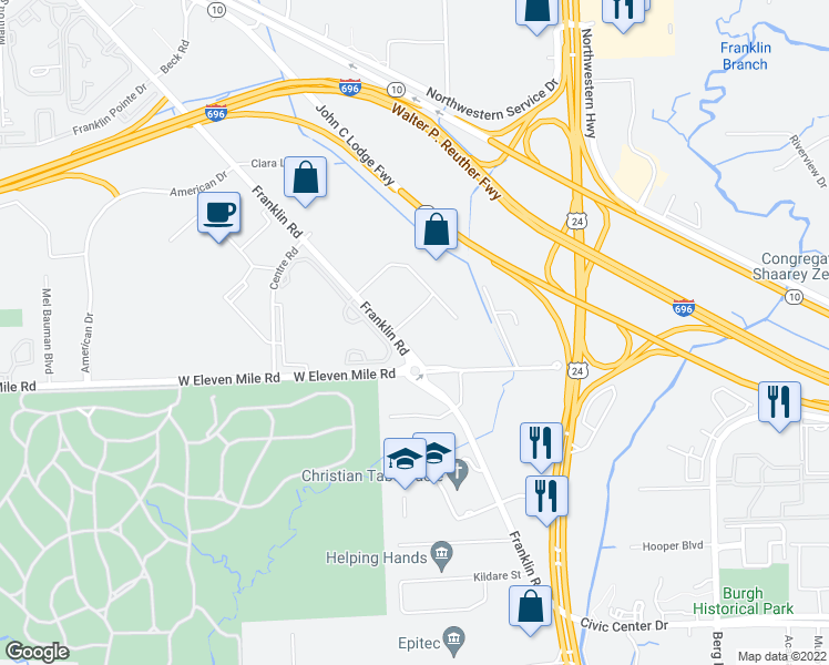 map of restaurants, bars, coffee shops, grocery stores, and more near 27600 Franklin Road in Southfield