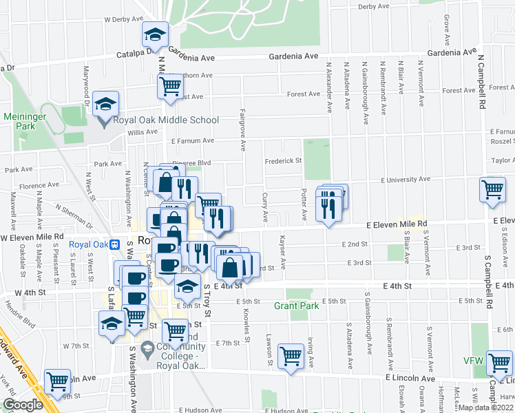 map of restaurants, bars, coffee shops, grocery stores, and more near 706 Chambers Street in Royal Oak