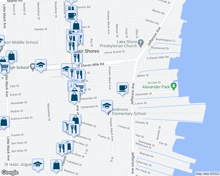 map of restaurants, bars, coffee shops, grocery stores, and more near Greater Mack Avenue in Saint CLR SHORES