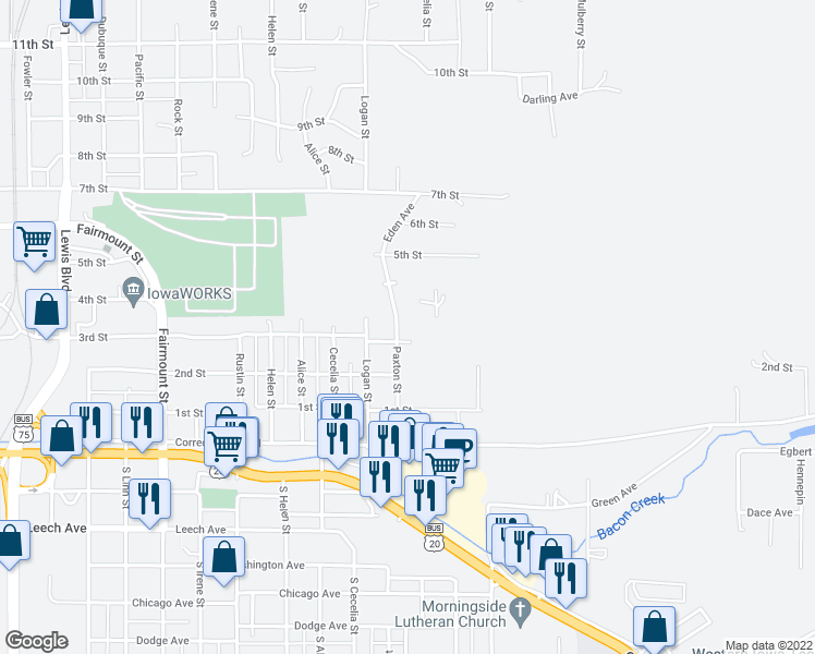 map of restaurants, bars, coffee shops, grocery stores, and more near 262 Paxton Street in Sioux City