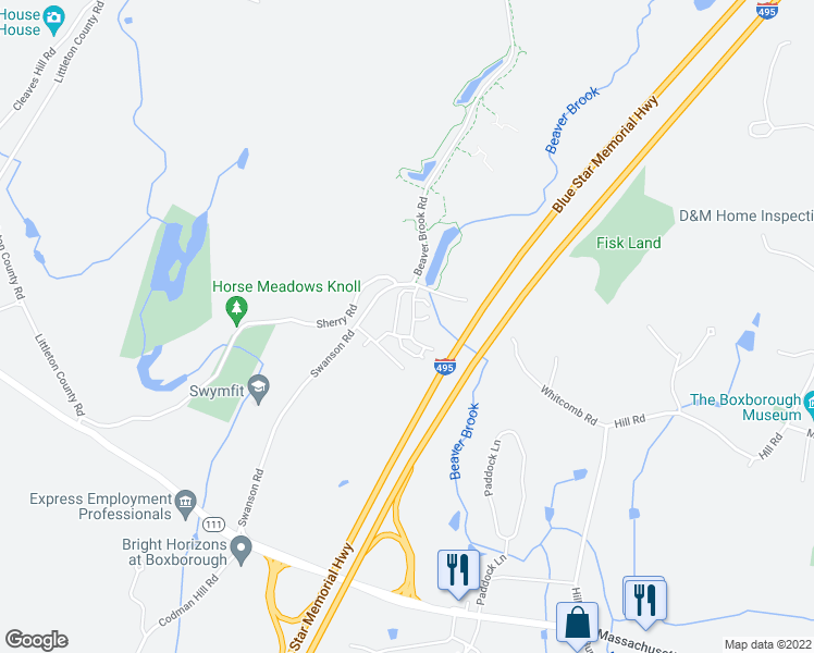 map of restaurants, bars, coffee shops, grocery stores, and more near 58 Spencer Road in Boxborough