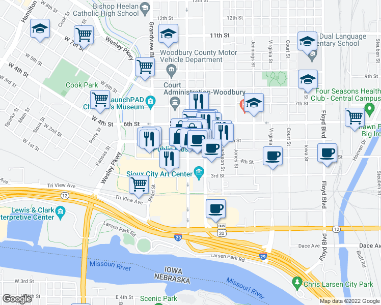 map of restaurants, bars, coffee shops, grocery stores, and more near 410 Pierce Street in Sioux City