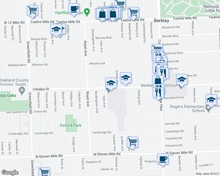 map of restaurants, bars, coffee shops, grocery stores, and more near 2664 Tyler Avenue in Berkley
