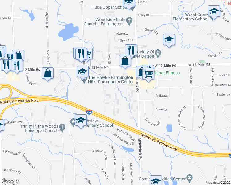 map of restaurants, bars, coffee shops, grocery stores, and more near 27517 Gateway Drive East in Farmington Hills