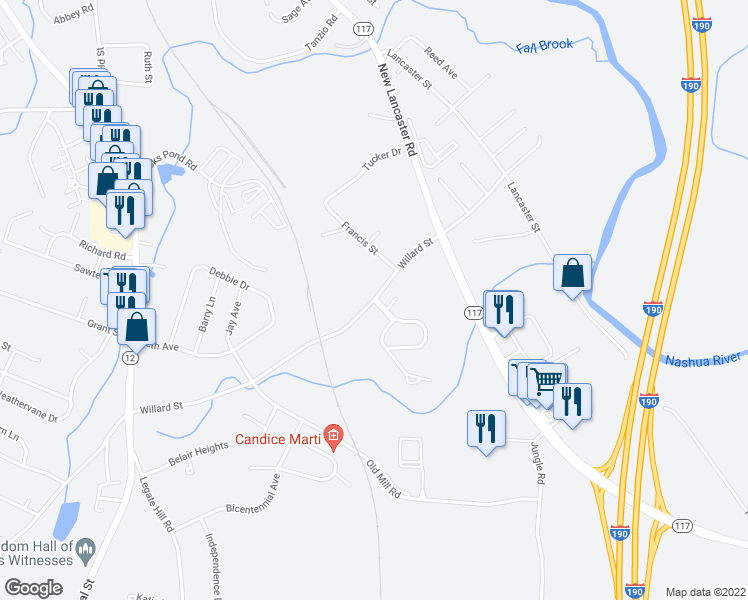 map of restaurants, bars, coffee shops, grocery stores, and more near 32-70 Bayberry Hill Lane in Leominster