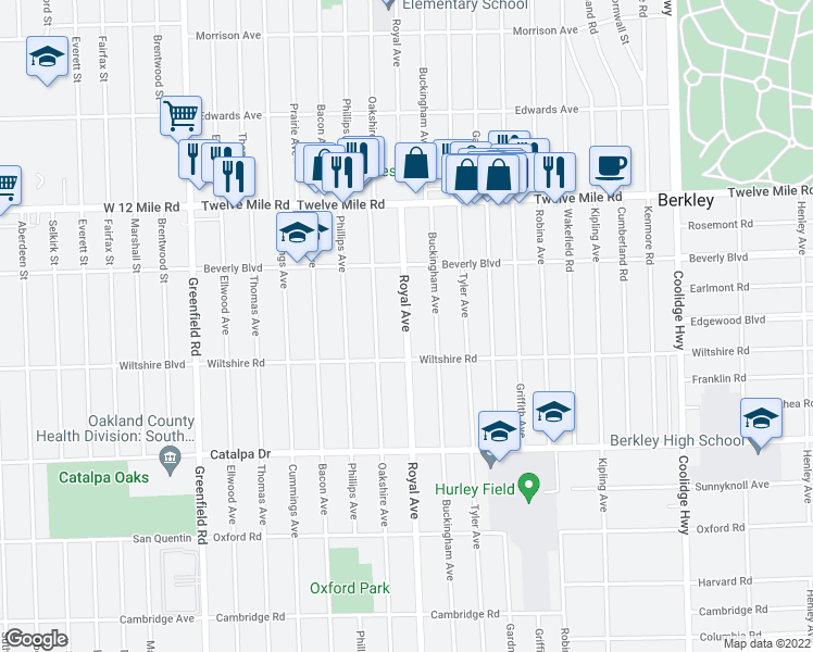 map of restaurants, bars, coffee shops, grocery stores, and more near Royal Avenue in Berkley