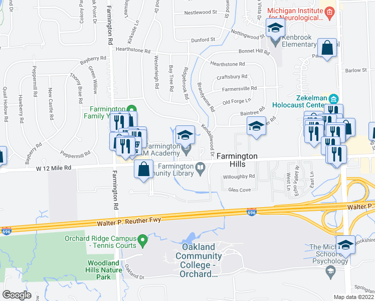 map of restaurants, bars, coffee shops, grocery stores, and more near 32800 Twelve Mile Road in Farmington Hills