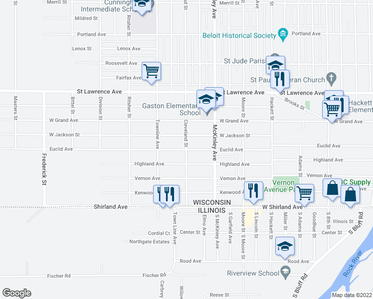 map of restaurants, bars, coffee shops, grocery stores, and more near 420 Cleveland Street in Beloit