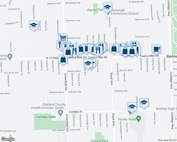 map of restaurants, bars, coffee shops, grocery stores, and more near 3849 Beverly Boulevard in Berkley