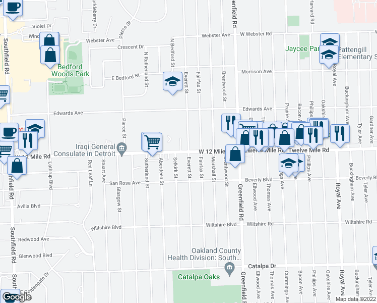 map of restaurants, bars, coffee shops, grocery stores, and more near Everett St in Southfield
