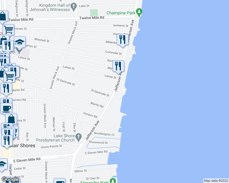 map of restaurants, bars, coffee shops, grocery stores, and more near Jefferson Ave in St Clair Shores