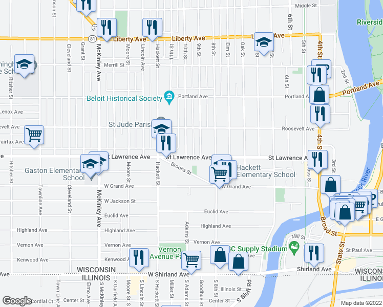 map of restaurants, bars, coffee shops, grocery stores, and more near 819 Saint Lawrence Avenue in Beloit
