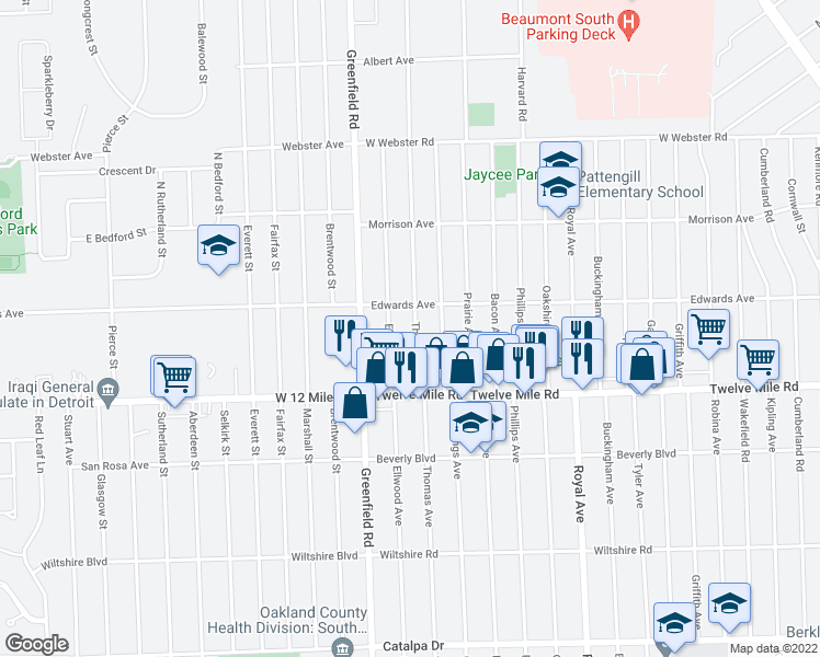 map of restaurants, bars, coffee shops, grocery stores, and more near 3625 Thomas Avenue in Berkley