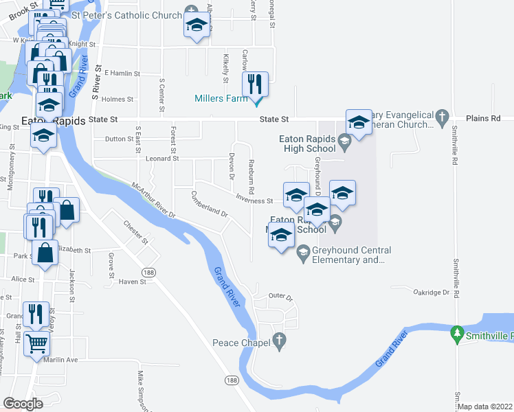 map of restaurants, bars, coffee shops, grocery stores, and more near 805 Raeburn Road in Eaton Rapids