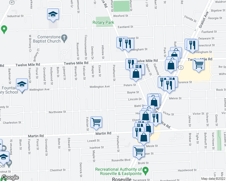 map of restaurants, bars, coffee shops, grocery stores, and more near 17814 Peters Street in Roseville