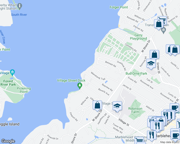 map of restaurants, bars, coffee shops, grocery stores, and more near 59 Manataug Trail in Marblehead