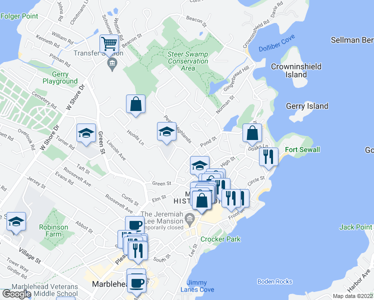 map of restaurants, bars, coffee shops, grocery stores, and more near 117 Farrell Court in Marblehead