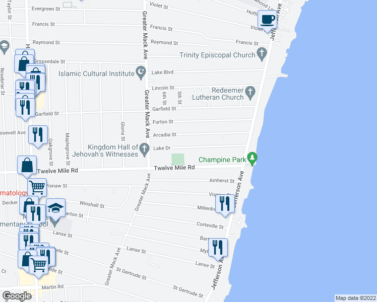 map of restaurants, bars, coffee shops, grocery stores, and more near 22604 Lake Dr in St Clair Shores