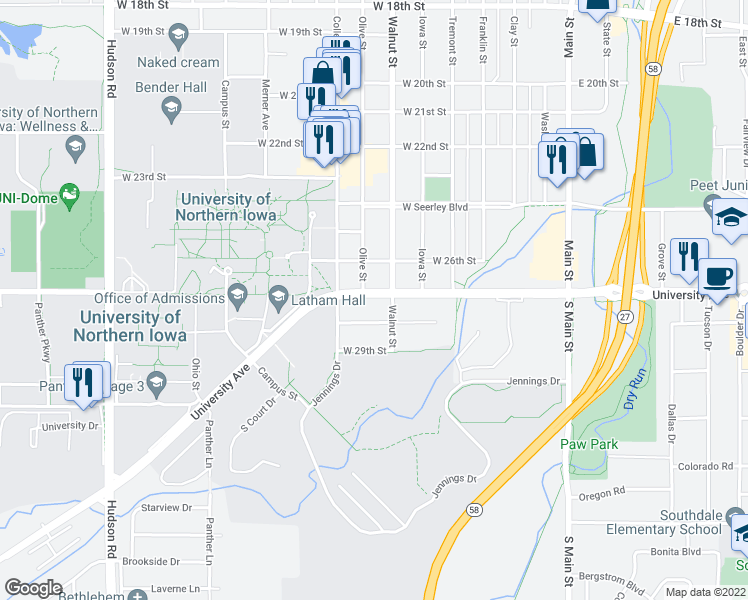 map of restaurants, bars, coffee shops, grocery stores, and more near 7917 University Avenue in Cedar Falls