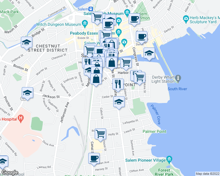 map of restaurants, bars, coffee shops, grocery stores, and more near 1 Cherry Street in Salem