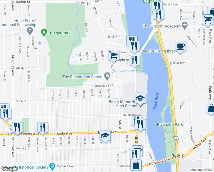 map of restaurants, bars, coffee shops, grocery stores, and more near 300-398 Olympian Boulevard in Beloit