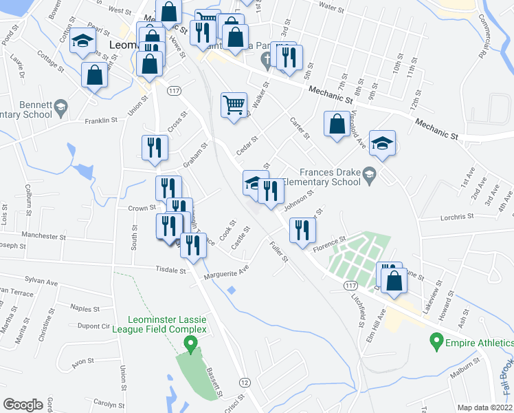 map of restaurants, bars, coffee shops, grocery stores, and more near 213 Lancaster Avenue in Leominster