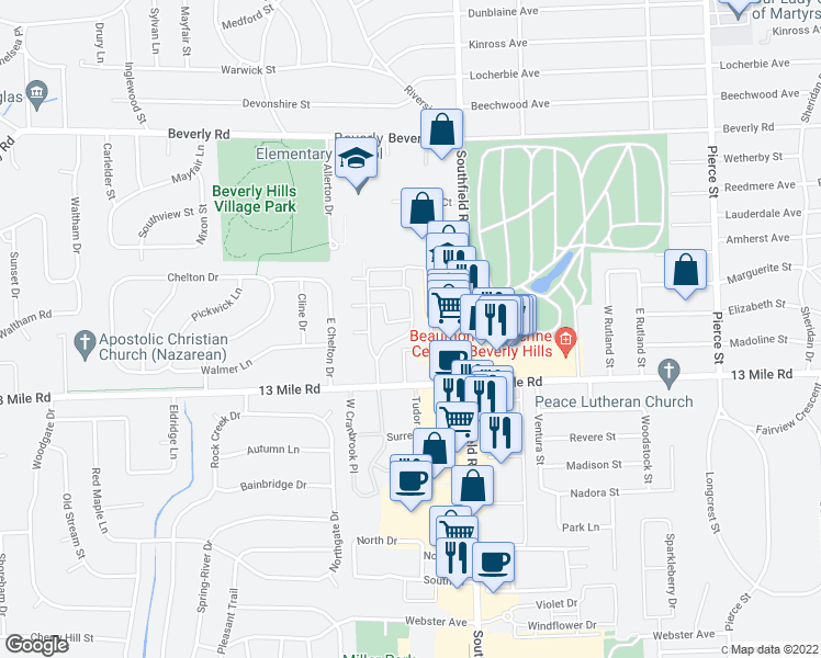 map of restaurants, bars, coffee shops, grocery stores, and more near 31065 Huntley Square East in Beverly Hills