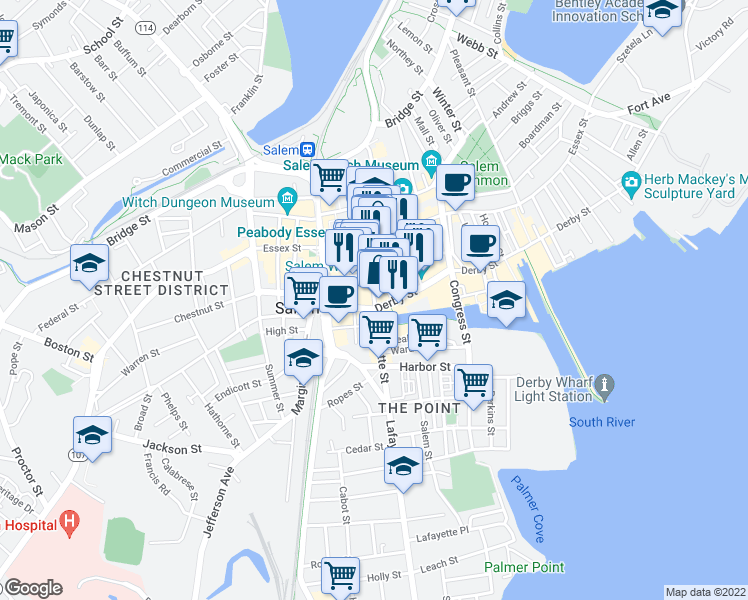 map of restaurants, bars, coffee shops, grocery stores, and more near 37 Central Street in Salem