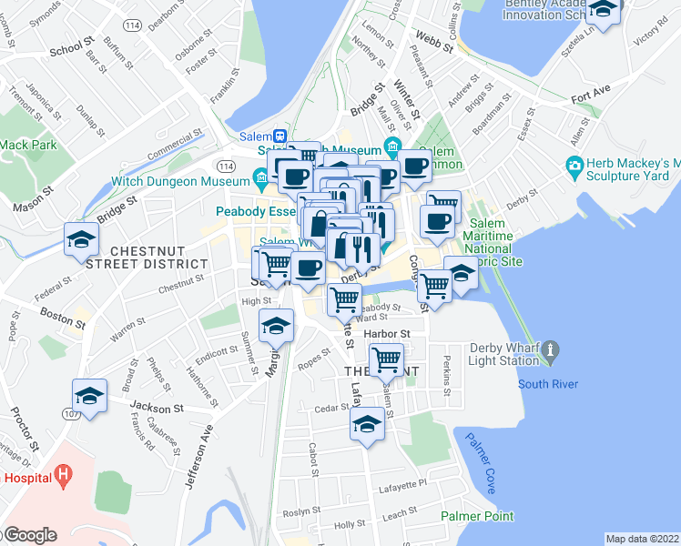 map of restaurants, bars, coffee shops, grocery stores, and more near 57 Charter Street in Salem