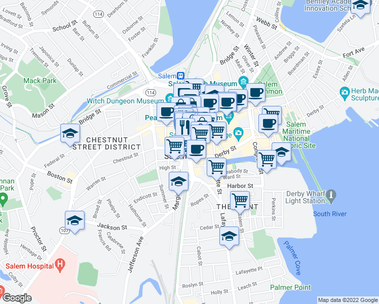 map of restaurants, bars, coffee shops, grocery stores, and more near 148 Washington Street in Salem