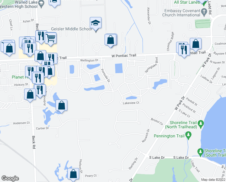 map of restaurants, bars, coffee shops, grocery stores, and more near 30955 Springlake Blvd in Novi
