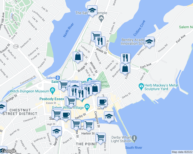 map of restaurants, bars, coffee shops, grocery stores, and more near 33 Washington Square in Salem